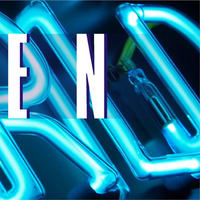 Beispiel Neonbuchstaben Leuchtschrift - Ausschnitt 18 - Detail eines blau leuchtenden Neonteiles