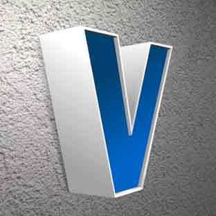 Leuchtbuchstaben-Neon-Profilbuchstaben-LED-Foto V (blau leuchtender Acrylspiegel)